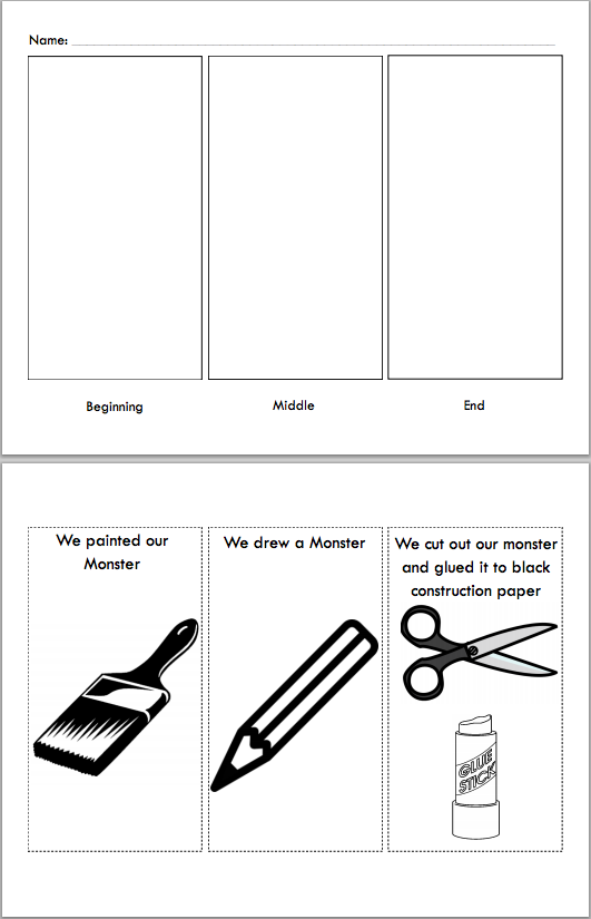 Sequencing Exercise  for a Kindergarten Art Project